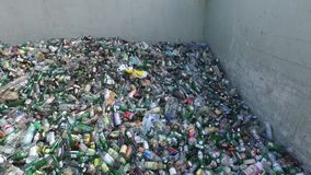 Landfill, composition of bottles, aerial view. Rubbish selection, top of used bottles stock footage