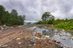 Landfill or dump household garbage and trash in the  dirty water that are contaminating and poisoning environment in the forest. Royalty Free Stock Photo