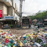 Landfill garbage, rubbish at the Cho Xom Chieu market in HCMC, V. Ho Chi Minh City, Vietnam - August 25, 2017: Landfill garbage, rubbish at the Cho Xom Chieu royalty free stock photography