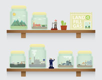 Landfill gas in jar. On the shelve Stock Photo