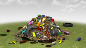 Landfill on the Lawn, 3d illustration. Computer-generated image on the environmental pollution theme Royalty Free Stock Photos