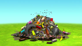 Landfill on the Lawn, 3d illustration. Computer-generated image on the environmental pollution theme Stock Image
