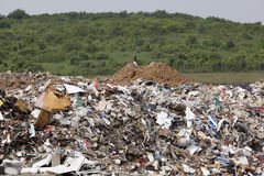 Landfill site. Waste disposed in the nature Stock Photo