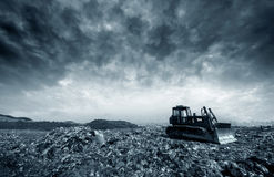 Landfill. Transportation over the daily garbage piled garbage landfill Stock Photo