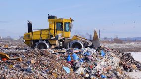 A landfill truck levels out the first garbage layer at a junkyard. A landfill compactor in side view works on a first garbage layer on the ground stock footage