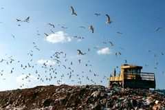 Landfill Working. Landfill with bulldozer working, against beautiful blue sky full of sea birds. Great for environment and ecological themes Stock Photo
