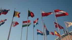 Landflaggen der Europäischen Gemeinschaft stock footage