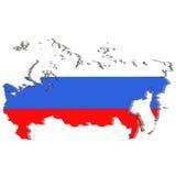 Landform von Russland - Wiedergabe 3D von Landgrenzen füllte mit Farben von Russland-Flagge auf weißem Hintergrund Lizenzfreie Stockfotografie