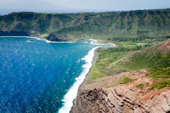 Landforms of Molokai island coast. Royalty Free Stock Images