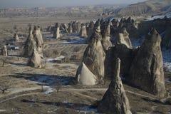 Landforms van Turkije van Cappadocia Stock Foto