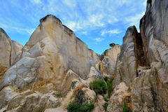 Landforms of weathering granite in Fujian, China. Weathering granite canyon in Fujian, South of China, as featured geology landforms, with wonderful pattern and Stock Images