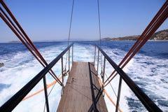 Landgång av segelbåten fotografering för bildbyråer