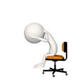 Landgångssandwichrubbning eller deprimerat på stol royaltyfri illustrationer
