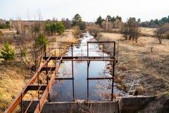 Landgewinnungssystem für Bewässerung von Feldern stockfotos