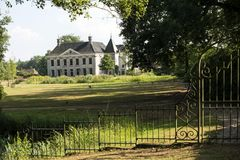 LANDGOED SINGRAVEN, NETHERLANDS - JULY 31, 2018: The Singraven e. State is uniquely situated along the Dinkel near the village of Denekamp. On the estate there Royalty Free Stock Photo