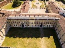 Landhaus Arconati, Castellazzo, Bollate, Mailand, Italien Vogelperspektive des Landhauses Arconati Stockbilder