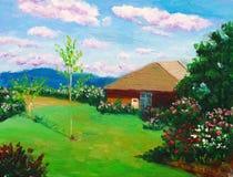 Landhaus auf einem Hügel Stockbild