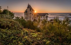 Landhaus Belza bei Sonnenuntergang in Biarritz, baskisches Land stockfotos