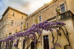 Landhaus d ?Este in Tivoli an der D?mmerung Warme Farben, die zur Glyziniepergola kontrastieren stockbild