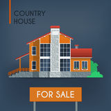 Landhaus mit rotem Dach Lizenzfreie Stockfotografie