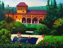 Landhaus mit Swimmingpool Stockfoto