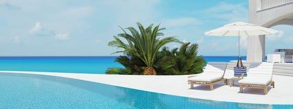 Landhaus mit Swimmingpool Seashells gestalten auf Sandhintergrund Wiedergabe 3d Lizenzfreies Stockbild
