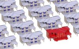 Landhaus umgeben durch rote Leuchttürme lizenzfreie abbildung
