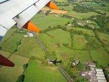 Landing. Aerial view of Belfast, Northern Ireland stock photography