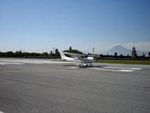 Landing Aircraft. On runway Stock Images