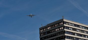 Landing of aircraft in Innsbruck royalty free stock photography