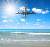 Landing an aircraft Stock Image