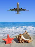 Landing an aircraft on a tropical island Royalty Free Stock Photography
