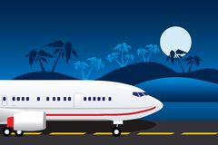 Landing Airplane. An airplane landing on a tropical island Royalty Free Stock Photos