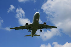 Landing Airplane. A closeup picture of a landing airplane Royalty Free Stock Photography