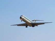 Landing airplane. Stock Photos