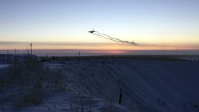 Landing of an airplane. On an airfield in Yakutia 2018 stock footage