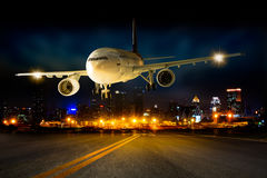 Landing airplane royalty free stock images