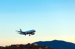 Landing of airplane, Corfu Royalty Free Stock Photography