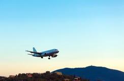 Landing of airplane, Corfu Royalty Free Stock Photography