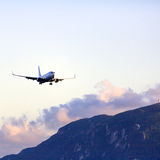 Landing of airplane, Corfu Royalty Free Stock Photo