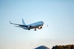 Landing of airplane, Corfu Stock Image
