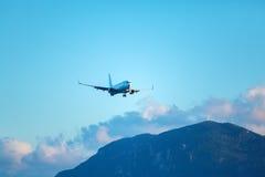 Landing of airplane, Corfu Stock Photo