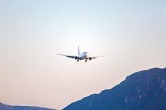 Landing of airplane, Corfu Royalty Free Stock Image