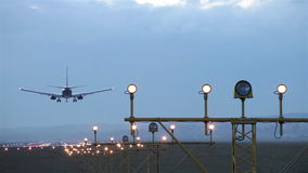 Landing of an airplane stock footage