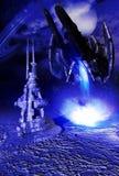 Landing on alien ice Royalty Free Stock Photo