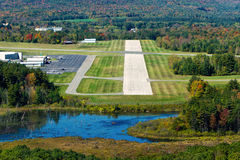Landing approach. Cockpit view of short landing strip at Pittsfield, Mass., municipal airport on an autumn afternoon Royalty Free Stock Photos