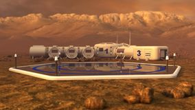 Landing ares. The colony on Mars. Autonomous life on Mars. 3D rendering Stock Photo