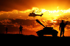 Landing of Army soldiers at sunset Royalty Free Stock Images
