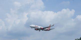 Landing. Arrival. Kuala Lumpur International Airport, Malaysia, 20th January 2018, Malindo Air Batik Edition aircraft on landing approach at the airport Stock Image