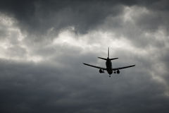 Landing in the bad weather Royalty Free Stock Image